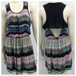 Women's L Boho Tribal Sleeveless Mini Dress EUC
